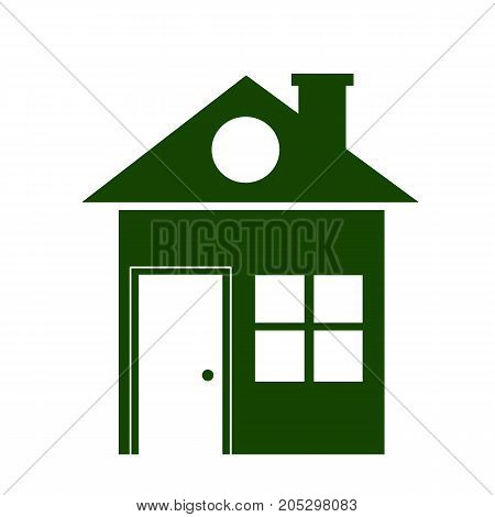 Green house home illustration. Real estate icon isolated on white.