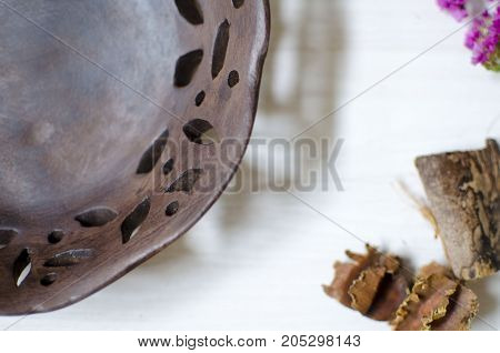 Dark Brown Burned Clay Dishes. Ceramics On The White Background. Decorative Pottery