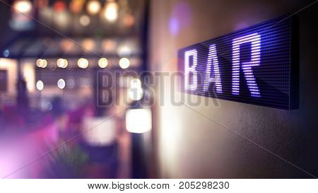 LED Display - Bar Signage (Photo + 3D Rendering)