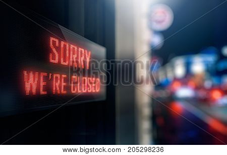 LED Display - Sorry we're closed Signage (Photo + 3D Rendering)