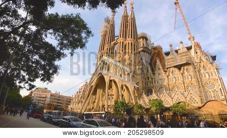Barcelona, Spain. September 2017: View Of Sagrada Familia Catholic Church In Barcelona, Spain