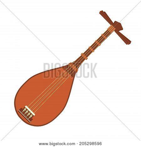 Vector illustration national musical instrument biwa. Music festival icon or vector emblem of live concert. Ethnic or folk music fest