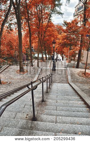 HDR view of the staircase of Montmartre in autumn time.