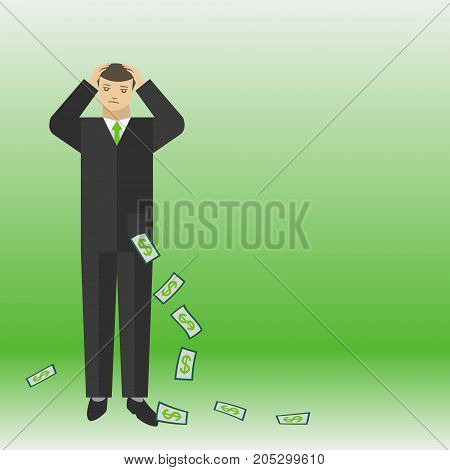 Businessman thinking about the money and lose them vector concept illustration