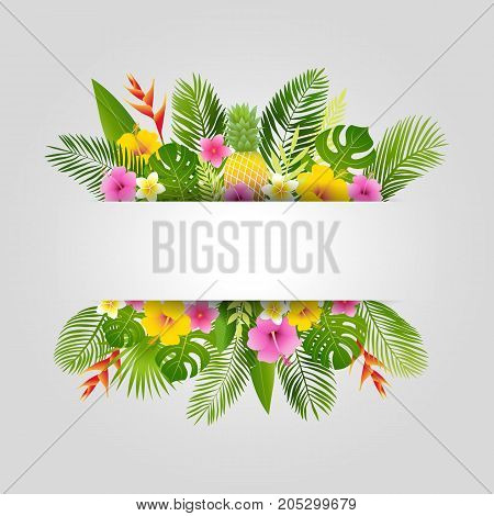 Tropical summer design with palm leaves, tropical plants, flowers and pineapple. Summer card. Vector illustration.