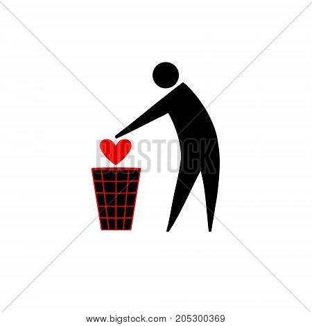 Free from love. Icon pictogram of a person throwing the heart into the trash. Ideal for catalogs information and institutional material