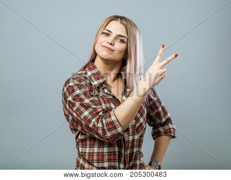 Cute Girl With Victory