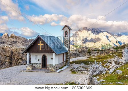 DOLOMITES,ITALY - SEPTEMBER 15,2017 - Cappella degli Alpini - Chapel at the southern side of Tre Cime di Lavaredo in Dolomites. The Dolomites are a mountain range located in northeastern Italy.