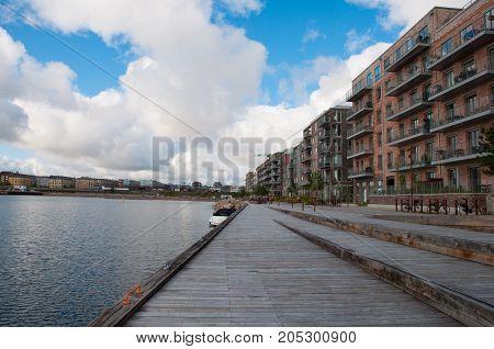 Waterfront of city of Copenhagen in Denmark