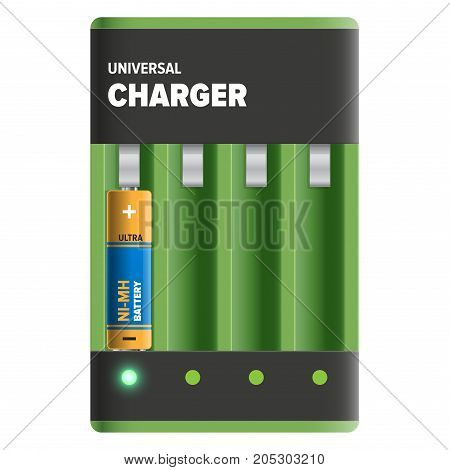 Powerful universal charger isolated on white. Energy container with cells for recharge of nickel-metal hydride batteries. Compact electrical appliance to refill power content vector illustration.