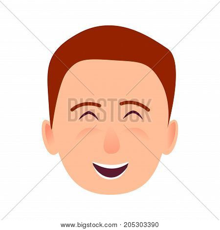 Laughing young man face icon. Brown-haired, blushed boy smiling with closed eyes flat vector isolated on white background. Joyful male cartoon emotive portrait for user avatar illustration