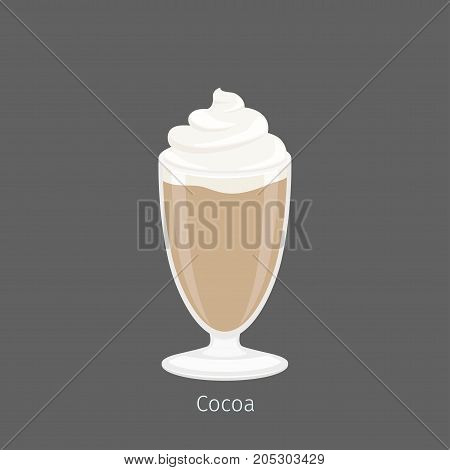 Delicious hot cocoa or drinking chocolate in oblong glass. Vector illustration of heated beverage with cacao powder, hotter milk or water, and sugar. Hot chocolate topped with whipped cream.