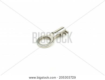 Single chrome key on a white background with text space. Security concept.
