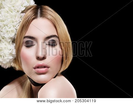 beautiful fashion  portrait of woman with creative make up