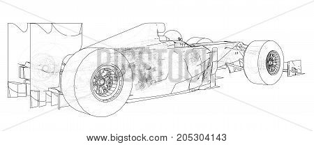 Formula race car. Abstract drawing. Tracing illustration of 3d.