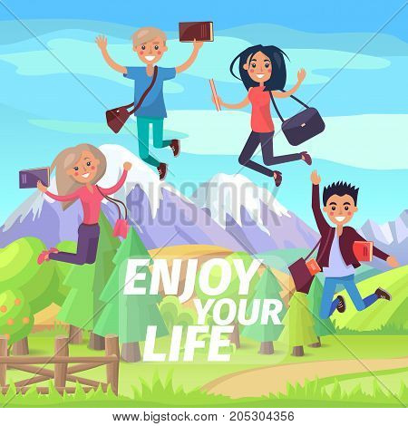 Enjoy your life weekend or holiday for jumping students. Tops of snow-capped mountains and green forest on background. Two boys and two girls with bags and educational materials vector illustration