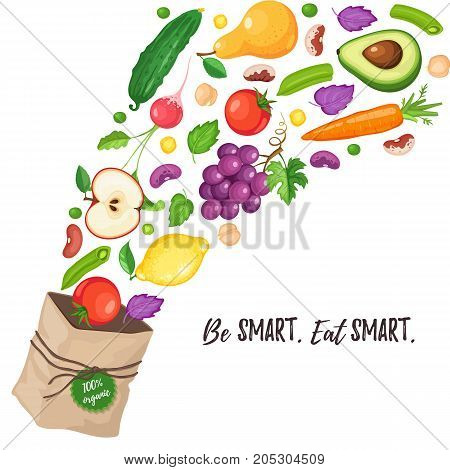 Paper bag with flying out fresh vegetables and fruits. Be smart, eat smart. Grocery paper bag with healthy food on white background. Shopping in a market. Healthy lifestyle concept.