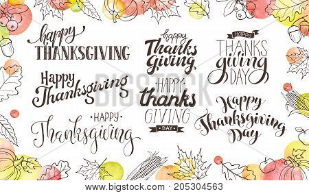 Thanksgiving wording isolated on white. Happy Thanksgiving day hand drawn text. Autumn objects square frame with watercolor. Pumpkin, corn, cranberry and leaves sketch with holiday inscriptions.