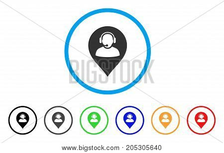 Call Center Marker rounded icon. Style is a flat call center marker gray symbol inside light blue circle with black, gray, green, blue, red, orange color versions.