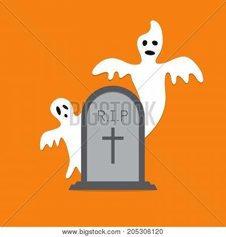Halloween White Ghost Evil Gravestone