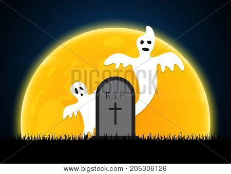 Halloween White Ghost Gravestone Moon Graveyard