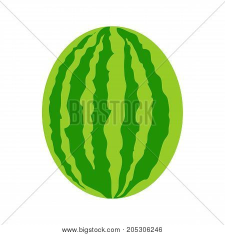 Ripe one striped watermelon in flat style. Fresh watermelon icon. Watermelon logo. Retail store element. Simple drawing. Isolated vector illustration on white background.