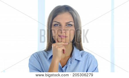 Portrait Of Beautiful Thinking Woman Gesturing  Brainstorming