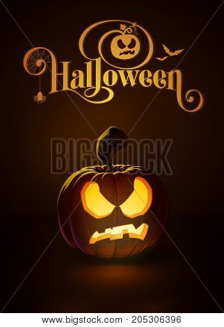Vector illustration of a Pissed Off jack-o-lantern glowing in the dark. Included a custom typography