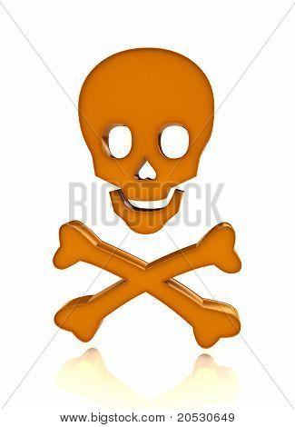 Skull with bones over white background