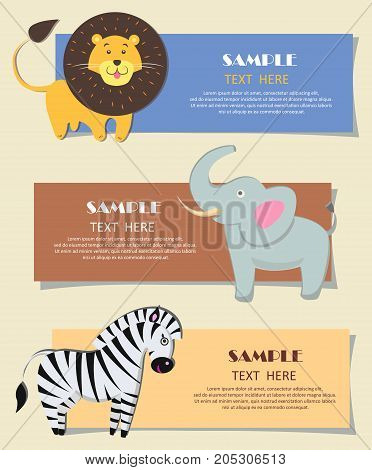 Three African wild animals nursery color cards flat design. Vector illustration of yellow lion with lush mane, gray elephant with long tusks and striped zebra. Set of children teaching posters.