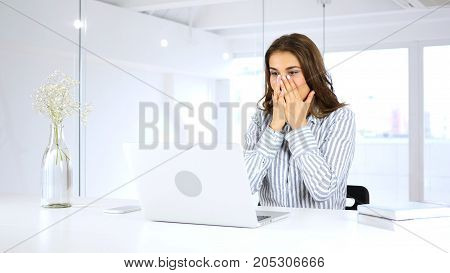 Amazed By Surprise, Woman At Work In Her Office