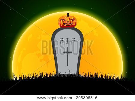 Halloween Gravestone Graveyard Moon Pumpkin Background