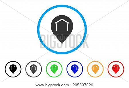 Hangar Map Marker rounded icon. Style is a flat hangar map marker grey symbol inside light blue circle with black, gray, green, blue, red, orange versions.