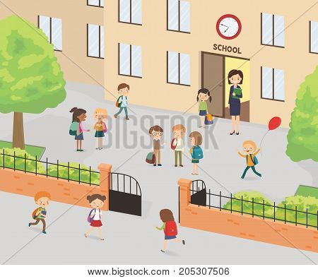 Primary education. Group of elementary school kids in the school yard. Cartoon vector illustration