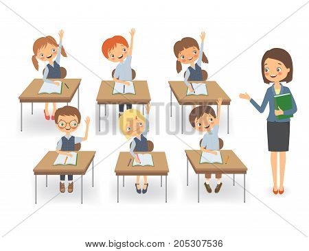 Teacher with pupils in a classroom at a lesson. Vector illustration on a white background