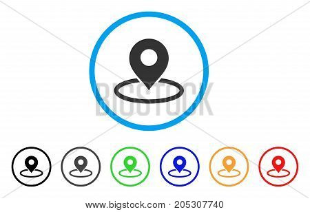 Map Marker Location rounded icon. Style is a flat map marker location gray symbol inside light blue circle with black, gray, green, blue, red, orange color versions.