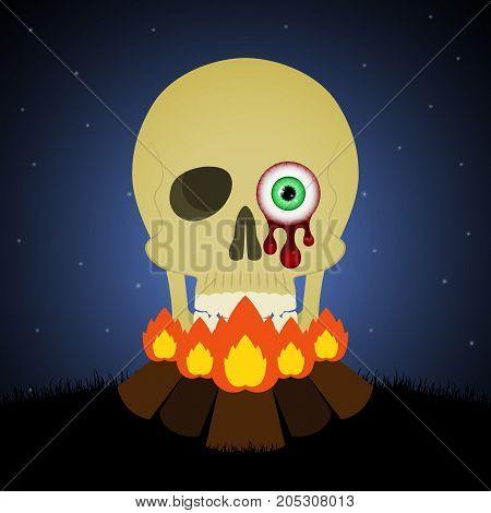 Halloween Bornfire Graveyard Blood Eyeball Skull Background