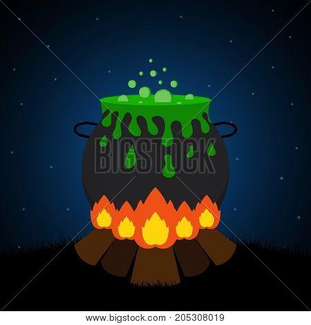 Halloween Bornfire Graveyard Witch Cauldron Background