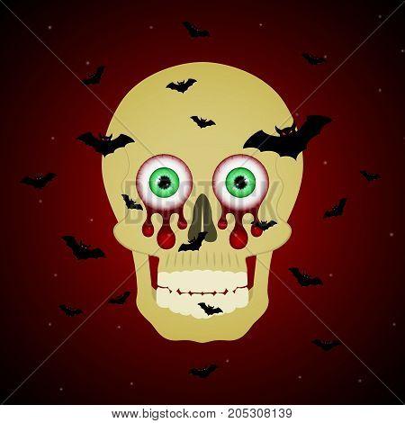 Halloween Blood Eyeball Skull Flying Bat Background
