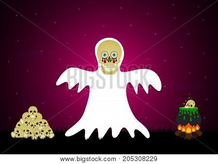 Halloween festival and celebration abstract background blood eyeball skull white ghost with skull graveyard witch cauldron bonfire and copy space vector illustration.