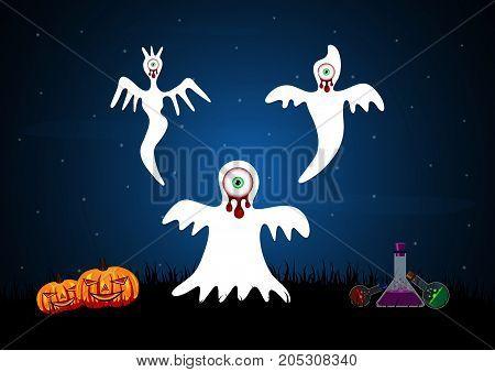 Halloween Blood Eyeball Ghost Pumpkin Poison Bottle Background