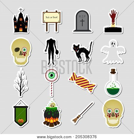 Halloween Color Sticker Icon Set