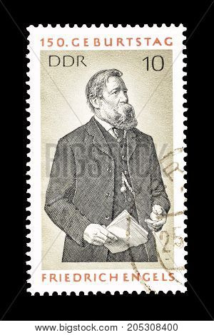 EAST GERMANY - CIRCA 1970 : Cancelled postage stamp printed by East Germany, that shows Friedrich Engels.