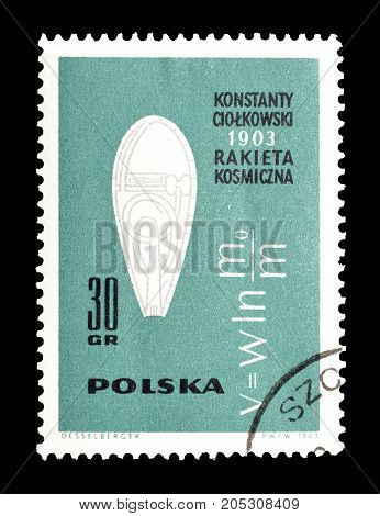 POLAND - CIRCA 1963 : Cancelled postage stamp printed by Poland, that shows Rocket speed formula.