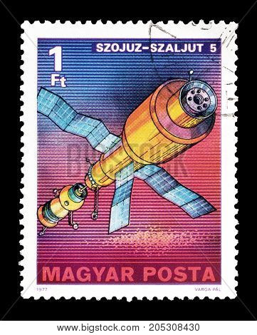 HUNGARY - CIRCA 1977 : Cancelled postage stamp printed by Hungary, that shows Szojuz satellite.