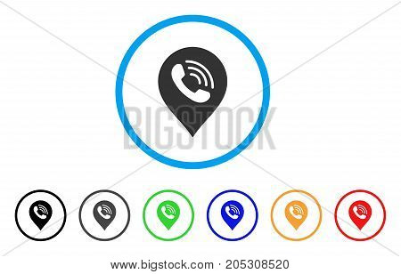 Phone Call Marker rounded icon. Style is a flat phone call marker gray symbol inside light blue circle with black, gray, green, blue, red, orange variants.