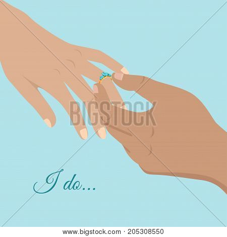 Proposal agreement touching moment vector illustration. Man hand puts beautiful engagement ring on womans hand isolated on blue background with sign I do. Shifting relationships to new level.
