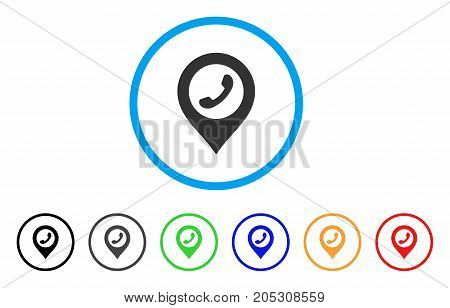 Phone Marker rounded icon. Style is a flat phone marker gray symbol inside light blue circle with black, gray, green, blue, red, orange color versions. Vector designed for web and software interfaces.
