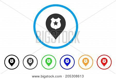 Police Shield Marker rounded icon. Style is a flat police shield marker grey symbol inside light blue circle with black, gray, green, blue, red, orange color versions.