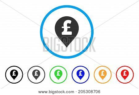Pound Sterling Marker rounded icon. Style is a flat pound sterling marker grey symbol inside light blue circle with black, gray, green, blue, red, orange variants.
